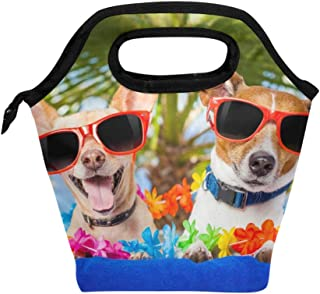 Mydaily Lunch Box Dogs Summer Vacation Reusable Insulated School Lunch Bag for Women Kids