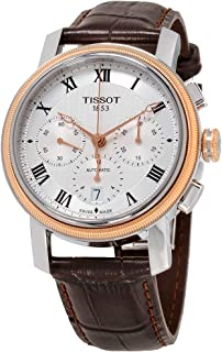 Tissot Men's Bridgeport Stainless Steel Swiss-Automatic Watch with Leather Strap, Brown, 20 (Model: T0974272603300)