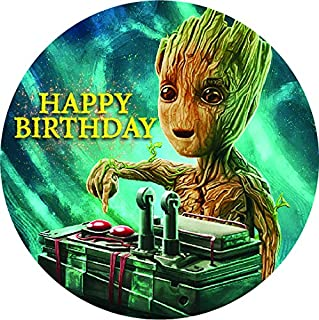 7.5 Inch Edible Cake Toppers – GUARDIANS OF THE GALAXY BABY GROOT Themed Birthday Party Collection of Edible Cake Decorations