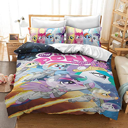 WellBridal My Little Pony Bedding Set Twin Colorful Cartoon Movie Duvet Covers for Girls Teen (1 Duvet Cover + 1 Pillowcase)
