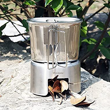 Docooler Outdoor Portable Camping Backpacking Wood Burning Stove Cup Set Stainless Steel Wood Stove 700ml Cup Pot with Foldable Handle