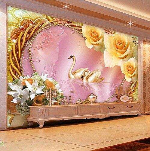 Weaeo Europäischen Stil Luxus Interior Decor Wall Murals Tapete 3D Stereo Swan Silk Tapeten Hotel Villa Wohnzimmer Hintergrund Wände-350X250Cm