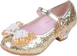 8ab11c3119d2b Yy.f YYF Fille Ballerine Chaussures à Talon à Déguisement Princesse avec  Nœud Papillon Paillettes