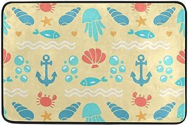 Not Slip Doormats Rugs Red Crab Blue Fish Shell Soft Foam Printing for Living Room Kids Bedroom Bathroom Door Mats 23.6x15.7