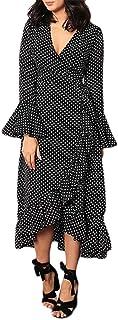 Women V Neck Loose Long Sleeve Maxi Dress ❀ Ladies Solid Loose Ruffled Irregular Casual Long Dress Party Dress