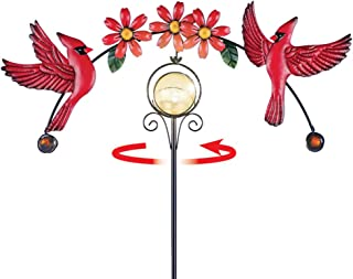 Collections Etc Flying Cardinal Solar Spinner Yard Stake with Sparkling Ball Automatically Lights at Night - Outdoor Decoration for Bird Lovers