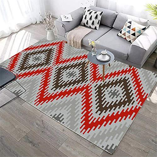 Kunsen alfombras de habitacion Alfombra Juvenil Sala de Estar Alfombra Rectangular Gris Rojo Suave decoración del Dormitorio Alfombra niños 200X280CM 6ft 6.7' X9ft 2.2'