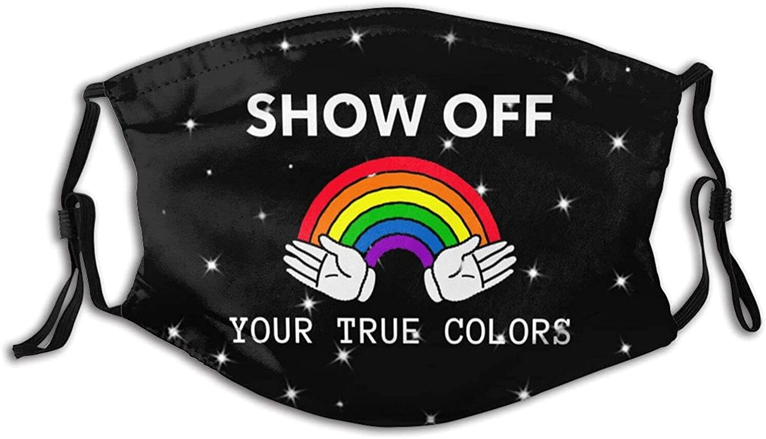 Rainbow Flag Show Off Your True Colors Face Mask, Reusable Washable Cloth Anti Dust Cloth Bandanas Breathable Balaclava for Dust Outdoors Men and Women