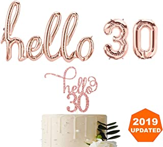 Hello 30 Props Decoration Rose Gold Balloons, Rose Gold Cake Topper 30TH Birthday Banner Balloon Birthday Party Backdrop Banner Decor