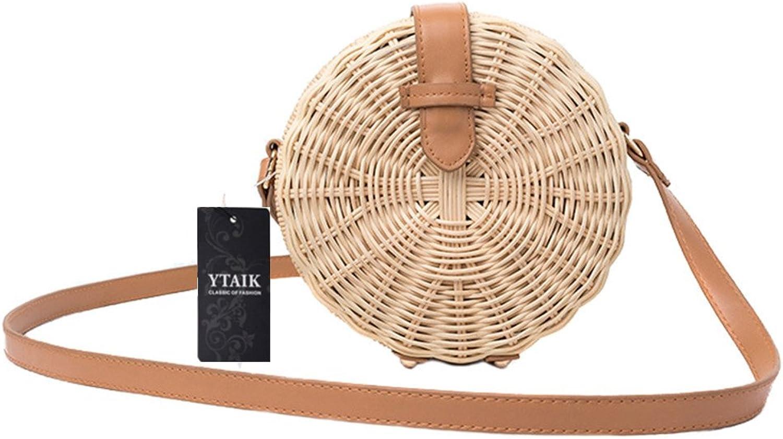 YTAIK Women Straw Bag Bohemian Bali Rattan Beach Handbag Small Circle Lady Vintage Crossbody Handmade Kintted Shoulder Bags