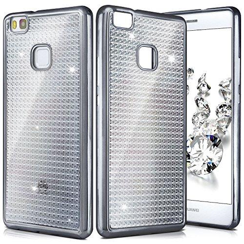 MoEx Shiny Case per Huawei P9 Lite   Custodia in Silicone Trasparente con Effetto Metallico e Lucido Indietro   Thin Sacchetto di Protezione Cellulare OneFlow   Backcover in Anthracite-Grey