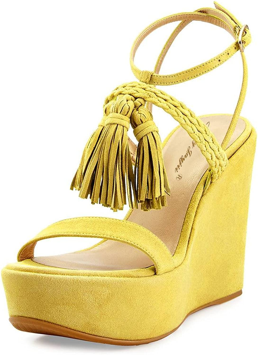 NJ Women Open Toe Platform Sandals Woven Lace up High Heel Wedge shoes with Fringes