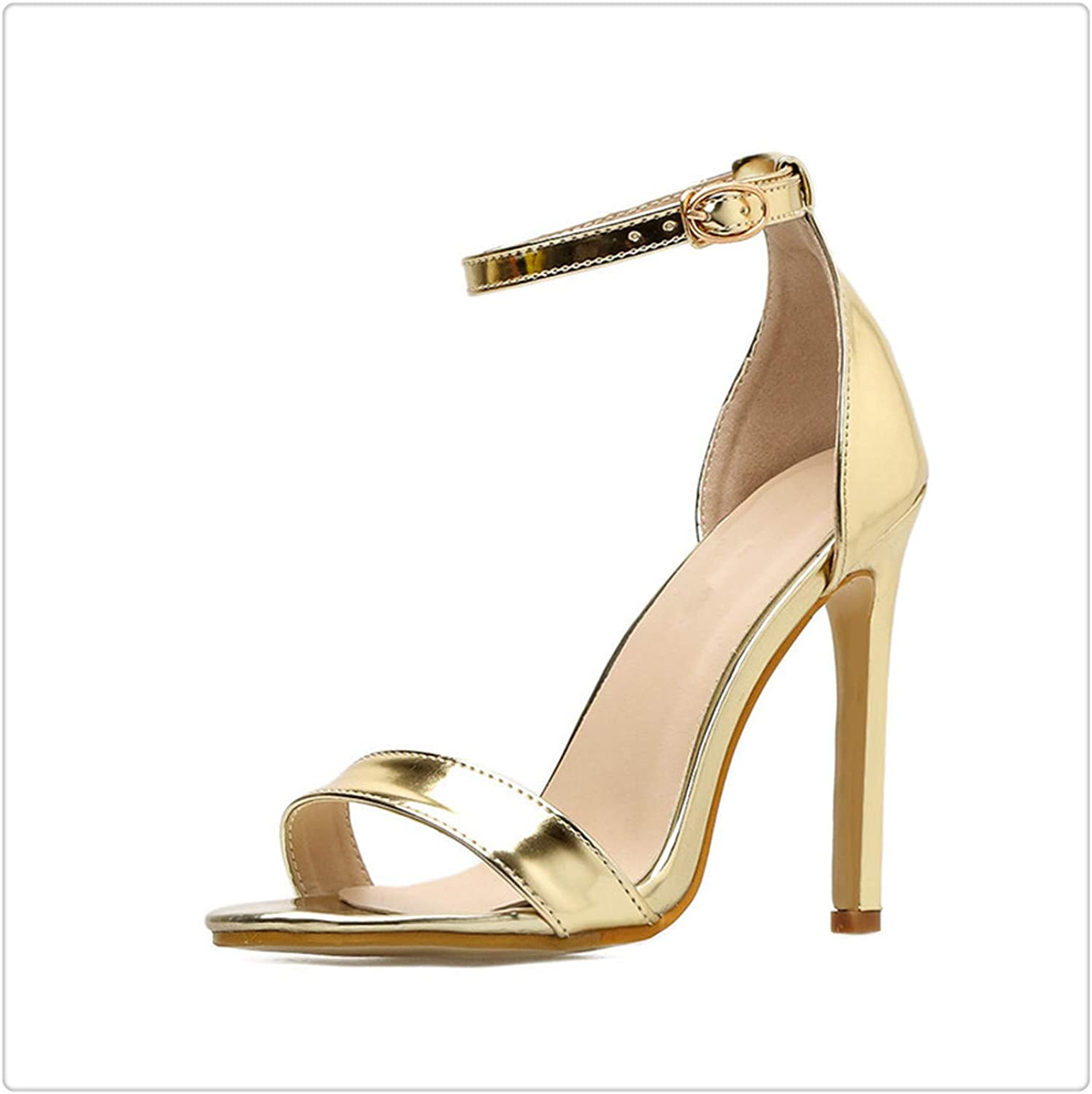 Yyixianma Extreme High Heel Sandals Women Patent Leather Women Summer shoes 2018 Sexy Women Sandals 11 cm gold 5