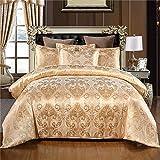 Silky lettiera del raso di Super Soft Cover Set di stile barocco europeo letto di Jacquard Duvet,D'oro,260x230cm