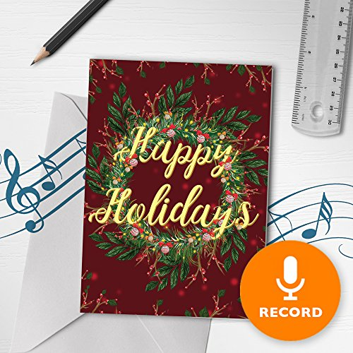Holiday Cards With Recordable Sound | Happy Holidays Greeting Card, Christmas Greeting Card, Christmas Wreath Card With Varnish Finish 00013 (10sec Recordable)