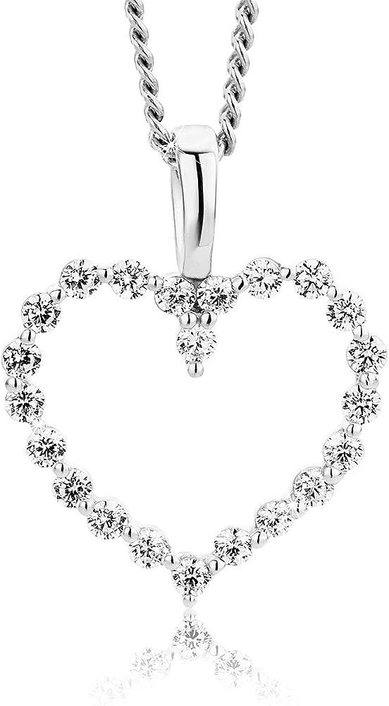 Orovi,collana per donna ,in argento 925,con pendente a forma di cuore in oro bianco 9kt(0,7 gr) con zirconi OR7790P