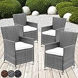 MIADOMODO Rattansessel mit Armlehne Stuhl Sessel Garten Stuhl Rattan Outdoor im Set 4 Stück mit Sitzkissen