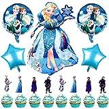Babioms 30Pcs Globos Cumpleaños Decoracion de Princesa, Elsa Globos de Cumpleaños, Cake Topper, para Niños Fiesta Baby Shower, Globo de Papel de Aluminio Congelado