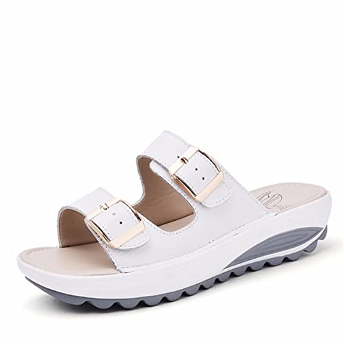 a52500f1b50e gracosy Platform Sandals Women Leather Casual Beach Wedge Slipper Rocker  Sole Shake Shoes Summer Slip On