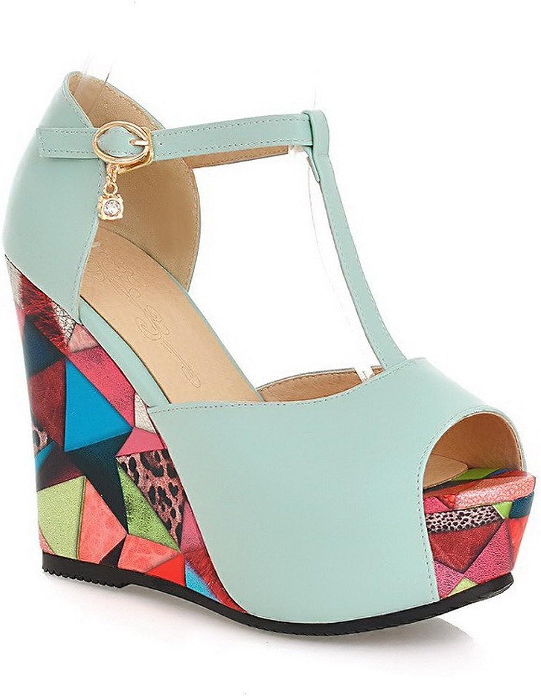 WeiPoot Women's Peep-Toe Buckle PU Assorted color High-Heels Sandals