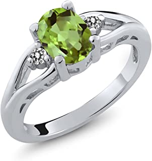 Gem Stone King 1.50 Ct 8x6mm Oval Green Peridot and White Topaz 925 Sterling Silver Gemstone Birthstone Women's Ring (Available 5,6,7,8,9)