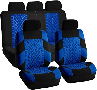 FH Group FB071115 Complete Set Travel Master Seat Covers Airbag Ready & Rear Split Blue/Black- Fit Most Car, Truck, SUV, or Van