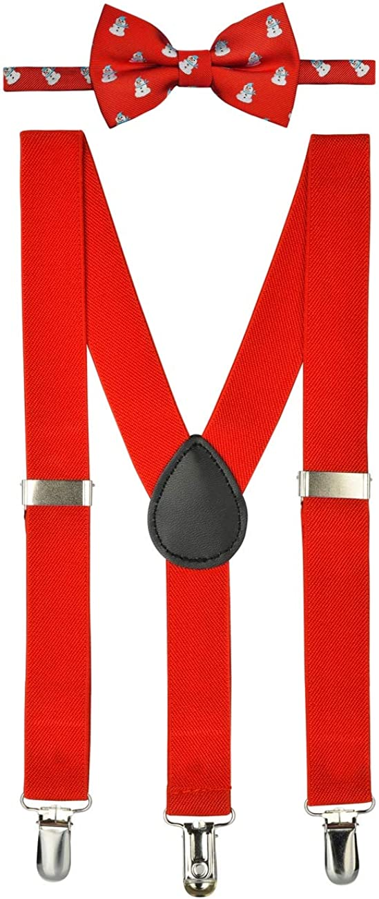 Retreez Boy's Suspender Bow Tie Set Christmas Cheerful Snowman Pre-Tied Bow Tie