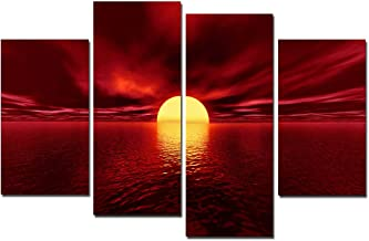 Wieco Art Giclee Canvas Prints Wall Art Red Sea Pictures Sun Paintings Ready to Hang for Living Room Bedroom Home Decorations Modern 4 Piece Large Stretched and Framed Seascape Ocean Beach Artwork L