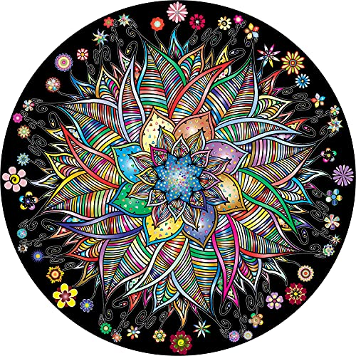 Bgraamiens Puzzle-Flower Whisper-1000 Pieces Round Puzzle Color Challenge Jigsaw Puzzles for Adults...