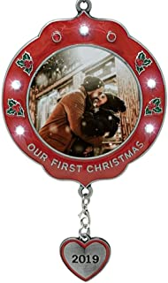 BANBERRY DESIGNS Our First Christmas Ornament Dated 2019 – Xmas Picture Frame Ornament – Couples 1st Christmas Together Photo Holder Ornament