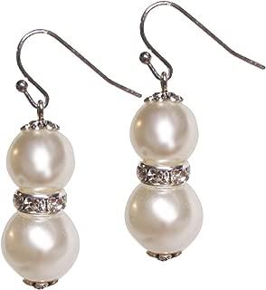 Li-Jacobs Ivory Simulated Pearl Drop Dangle Earrings For Women Girls Fashion Jewelry (Double Pearl)