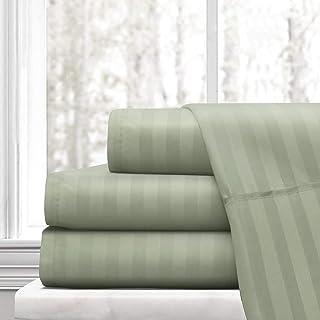 ADDY HOME FASHIONS Royalin Linen Luxury Egyptian Cotton Sateen Weave 500 Thread Count 18 Inch Stripe Sheet Set Sage California King 4 Piece