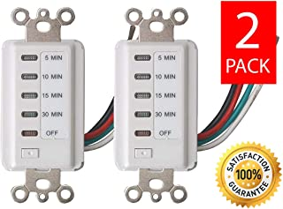 Bathroom Fan Auto Shut Off 30-15-10-5 Minute Preset Countdown Wall Switch Timer White (2 Pack)