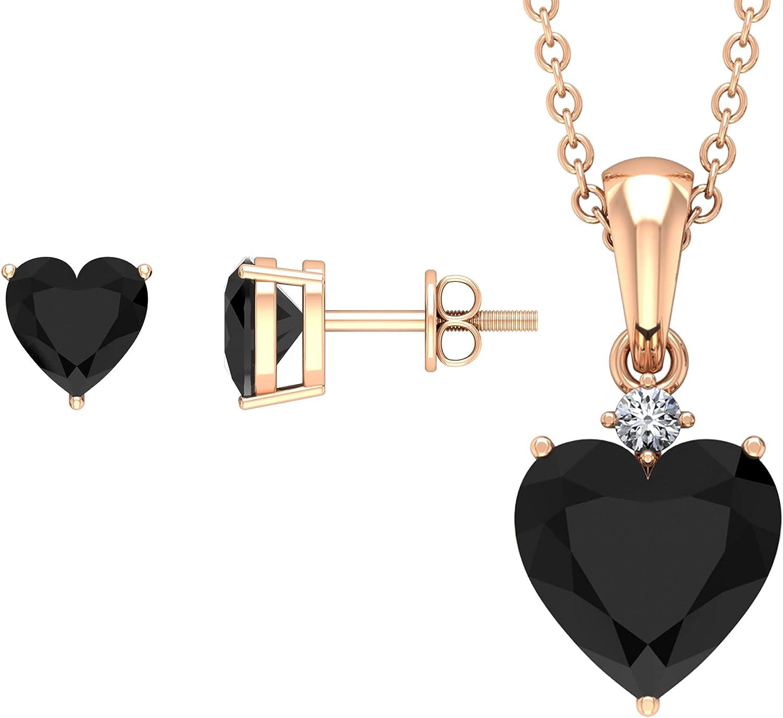 4.25 CT Heart Shape Created Black Diamond Solitaire Jewelry Set with White Diamond (AAAA Quality),14K Rose Gold,Diamond