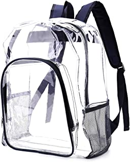 "Heavy Duty Clear Backpack See Through Bookbag Stadium Approved Clear Backpacks for School, Work, Music Festival (16"" Navy ..."