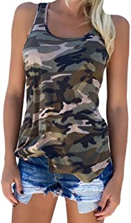 Zcavy Cute Camo Tank Flowy Athletic Shirts Running Muscle Shirts Workout Gym Clothes Racerback Camo Tank Tops for Women