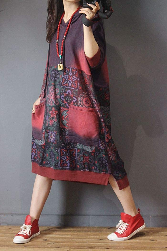 Women Casual Loose Ethnic Floral Hoodies Sweatshirts Jackets