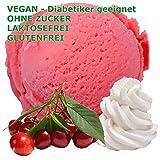 Amarena Sahne Kirsch Geschmack Eispulver VEGAN - OHNE ZUCKER - LAKTOSEFREI - GLUTENFREI - FETTARM, auch für Diabetiker Milcheis Softeispulver Speiseeispulver Gino Gelati (333 g)