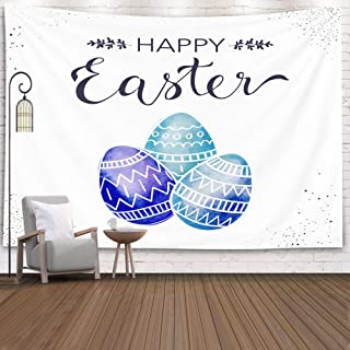 Pamime Home Decor Tapestry Easter Card Drawn Festive Design Colorful Holiday Background Doodle Eggs Tapestry,Happy Greeting Dorm Bedroom Living Room 80x60 Inches(200x150cm) InHouse,Purple Gray