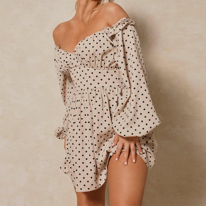 EXLURA Women's Polka Dot Off Shoulder Ruffled Chiffon Mini Dress Long Lantern Sleeve A-line Dresses Deep V-Neck Casual Dress