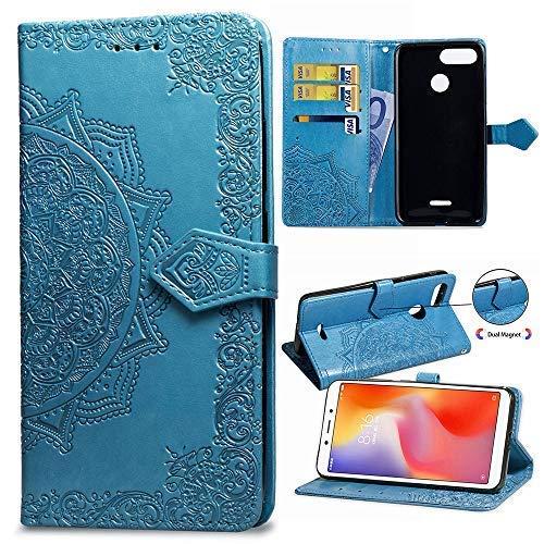 Funda Xiaomi Redmi 6/6A, Carcasa Libro de Cuero con Tapa y Cartera, Carcasa PU Leather con TPU Silicona Case Interna Suave, Soporte Plegable para Xiaomi Redmi 6/6A - Azul