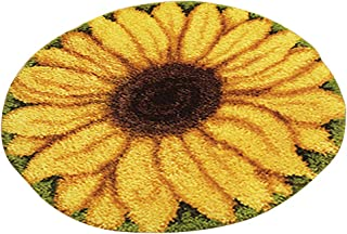 Bonarty DIY Latch Hook Kit Rug Making Crafts for Kids/Adults 20 inch X 20 inch Sunflower