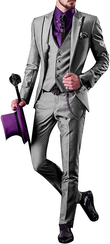 JY Men's Purple Modern Fit New popularity 3-Piece security Pants Suit Vest Blazer Jacket