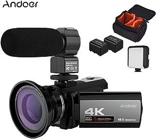 كاميرا فيديو رقمية واي فاي 4 كيه 48 ميجا بكسل + ميكروفون خارجي + عدسة بزاوية عريضة 0.39 × + مصباح فيديو ليد صغير + بطاريتين + حقيبة كاميرا