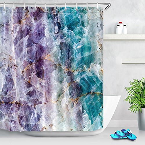 LB Colorful Crystal Mineral Pattern Modern Mable Shower Curtain for Bathroom,Blue and Purple Mineral Rock Texture Decor Bathroom Curtain Waterproof Polyester Fabric with Hooks, 70x70 Inch