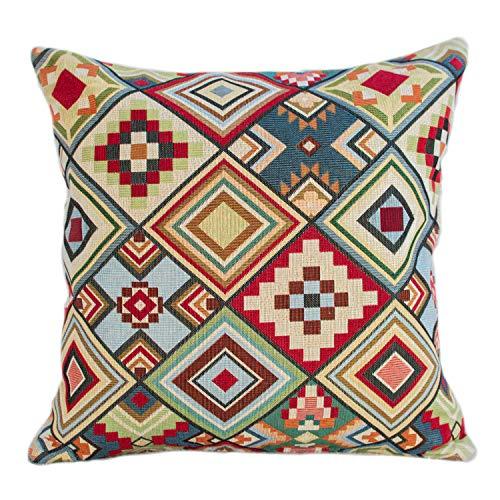 Kissenbezug mit geometrischem Tapisserie-Muster, doppelseitig, mehrfarbig, rot, blau, grün, gelb, dreieckig, Azteken-Muster, 43 x 43 cm