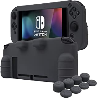 YoRHa HAND GRIP Silicone Cover Skin Case for Switch x 1(grey) With Joy-Con thumb grips x 8