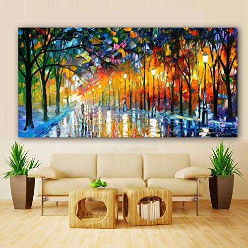 Poster Modern Canvas Painting Impresiones de paisajes Rain Light Tree Pintura al óleo Wall Art Pictures for Living Room Home Decor Cuadros 70x140CM Sin marco