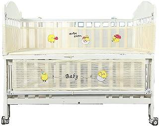 Langba ベビーベッドバンパー ベッドガード ベビーベッド用フェンス 通気性抜群 サイドガード バンパー 通気性メッシュ 四方タイプ 衝撃吸収 洗濯可能 かわいい 出産祝い ベビー用品