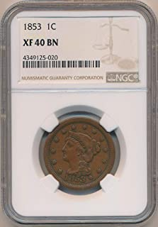 1853 P Braided Cent XF40 NGC